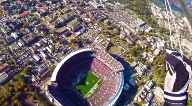 Video Skydiving Into a packed Bryant-Denny Stadium!