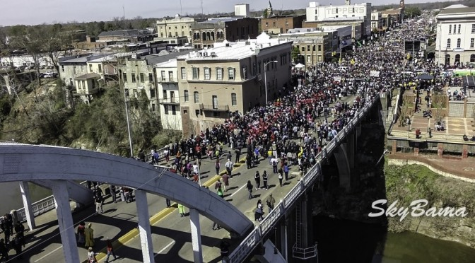 "Drone video Selma on 50th anniversary to commemorate ""Bloody Sunday"""