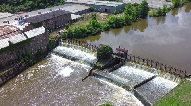 Drone view of Prattville Mill Dam almost at flood levels.  – Video