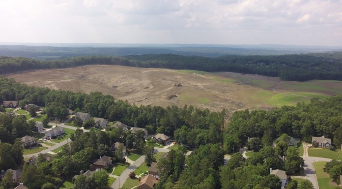 Aerial View of Land Cleared for the New Alabaster High School. – Video