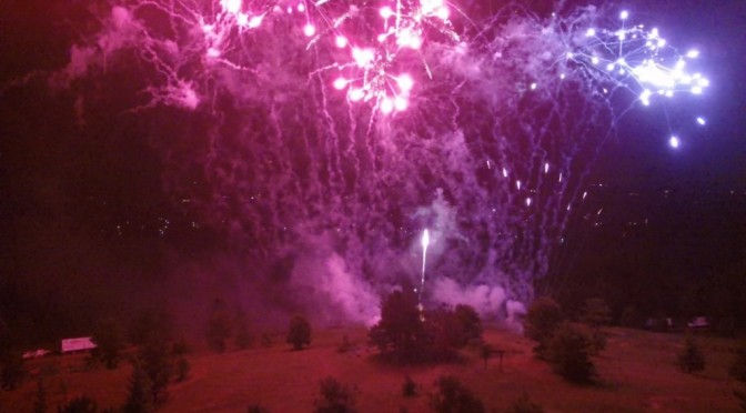 July 4th firework display viewed from a drone.