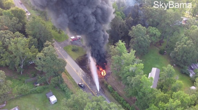 Hwy 11 Pelham Large Tanker Fire Accident – Aerial Video
