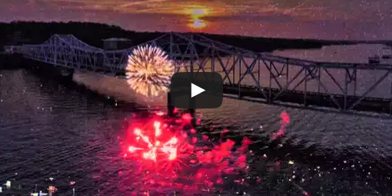 Drone view of the fireworks over Smith Lake at Duncan Bridge.