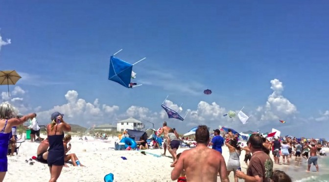 Blue Angel Sneak Pass Over Beach Send Tents Flying Into The Air! – Video