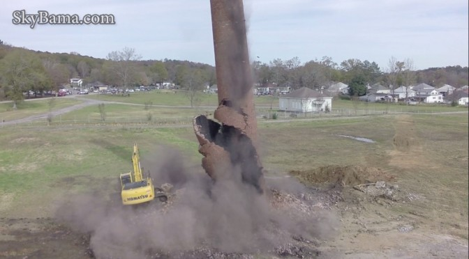Pell City implodes historic Avondale Mills smokestack