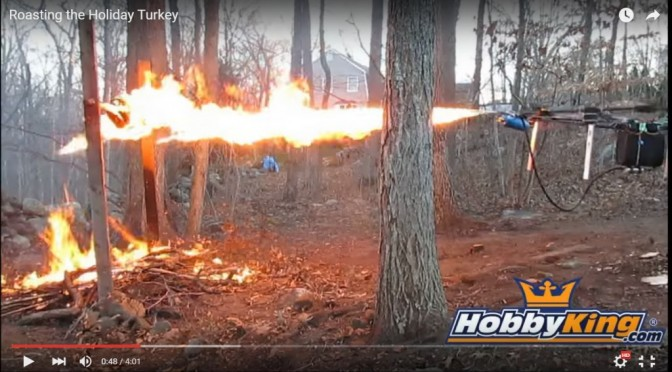 Flame Thrower Drone Roasting a Turkey!