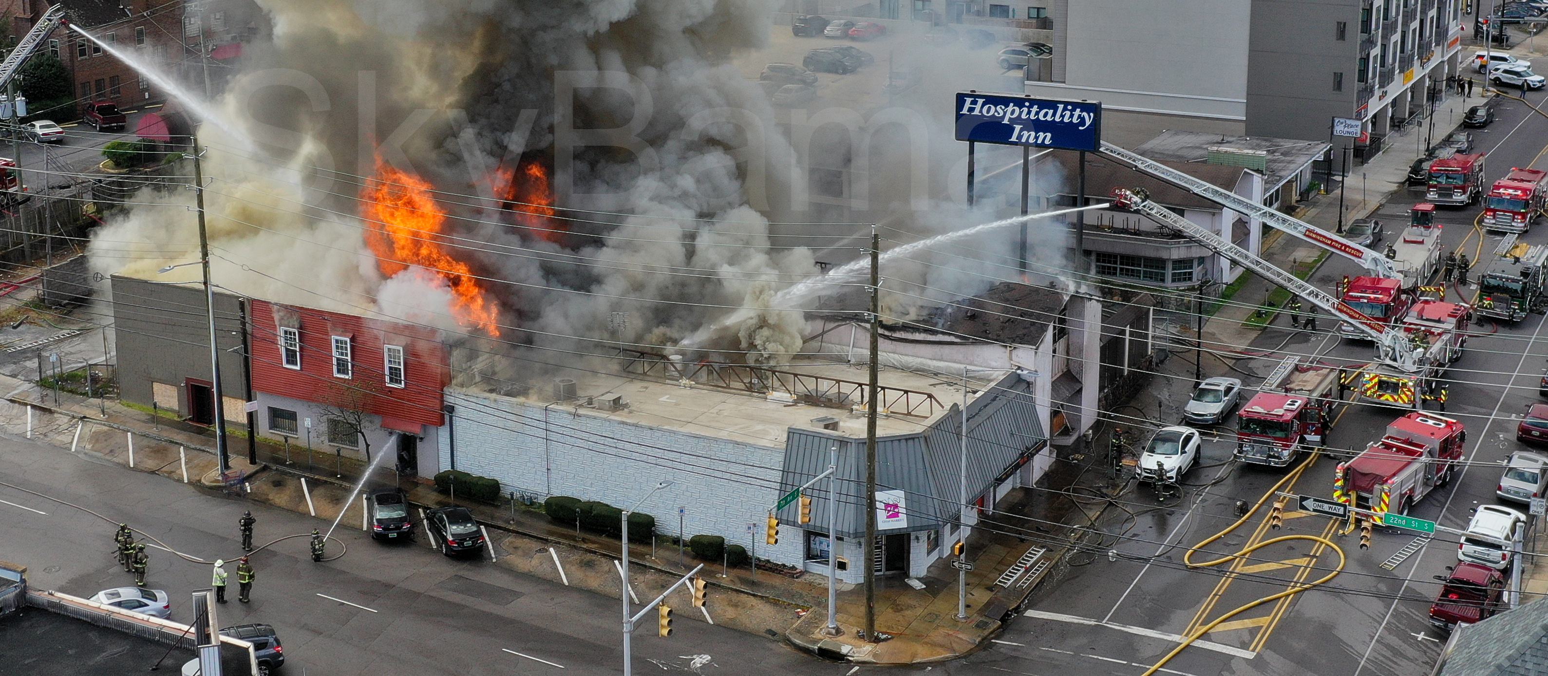 2 Alarm Fire Birmingham at the vacant Hospitality Inn arson suspected.